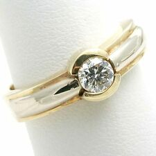Diamond Engagement Ring 1/2 carat Round Cut 14k gold bezel set solitaire NEW!