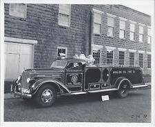 1941 CABINET PHOTO PAIR McKAY BODY WORKS AVALON PA FIRE TRUCK FRONT & BACK