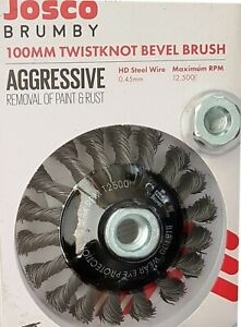 NEW JOSCO BRUMBY 100 MM TWISTKNOT BEVEL BRUSH AGGRESIVE REMOVAL OF RUST & PAINT