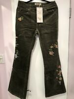 Sheryl Crow Embroidered Corduroy Flared Jean Stretch Green Size 12