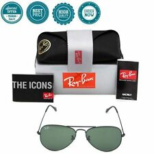 Authentic Ray Ban Aviator RB3025 Black Frame W3235 Green Classic G-15 55mm Lens