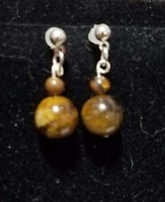 Handmade Tigers Eye Gemstone Dangle Earrings on Silver Plated Ball Stud Findings