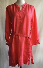 Garnet Hill Linen Banded Collar Belted Dress Womans 12 Coral Pink Long Sleeve