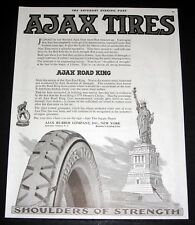 1919 OLD MAGAZINE PRINT AD, AJAX ROAD KING TIRES, STATUE OF LIBERTY ART WORK!