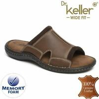 Mens Leather Sandals Walking Memory Foam Wide Fit Flip Flop Summer Sandals Shoes