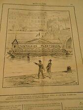 Caricature 1887 - Acheter une école de natation pour en faire un théatre Péniche