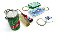 Vintage Pepsi Cola Miniature Soda Bottle Keychain Advertising Lot Mountain Dew