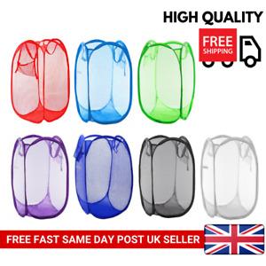 Large Laundry Foldable Mesh Washing Basket Bag Pop Up Bin Hamper Toy Storage