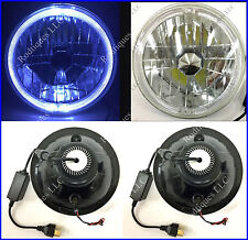 "Rodtiques 7"" LED Low & High Beam Headlights With White LED Halo Angel Eye -5"