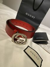 Authentic Red Gucci Belt Men 64 / 110B, With Receipt And Bags.