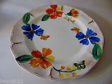 "NEW Sur La Table ROUND SERVING PLATTER 16"" Large Poppy Flowers Butterflies Italy"