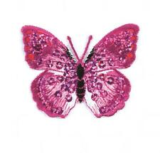 Sew On Motifs or Iron On Dresses Appliques Patches 5 cm -Pink Sequin Butterfly