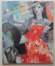 YURI DENISSOV b1962 large original signed canvas oil painting The Woman in Red