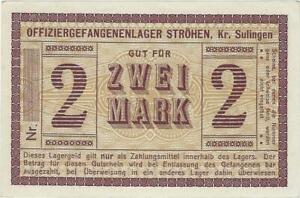 POW NOTE GERMANY--STRÖHEN lr SULLLINGEN   2  MARK //841