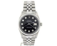 Mens Rolex Datejust Stainless Steel Watch Jubilee Black Diamond Dial 1603