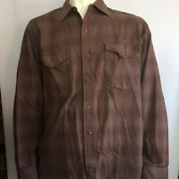 VTG 60s Pendleton Wool Brown Plaid Heavy Shirt Jacket Button Front USA Made 17