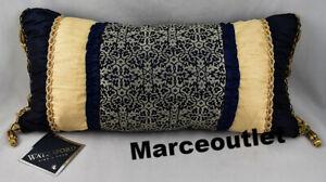 "Waterford Fine Linens Vaughn 12"" x 24"" Decorative Pillow Navy / Gold"