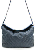 Chanel Womens Medium French Riviera Quilted Hobo Blue Caviar Leather Handbag