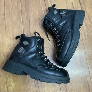 Mens Harley Davidson Boots Black Leather Riding Boots Size 8.5