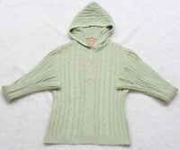Aeropostale Hooded Sweater Women's Long Sleeve Green Medium Ramie Cotton Top
