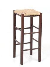 Sgabello alto in legno seduta in paglia h70cm col.noce per pub,tavoli snack