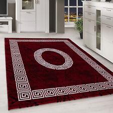 Kurzflor Design Teppich Griechisches Ornament Muster Troja Rot Schwarz Meliert