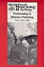 1983 Timetable Leaflet - Ffestiniog Railway - Narrow Gauge - Porthmadog, N Wales