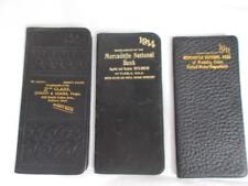 Lot 3 DAILY JOURNALS 1906-1914 BANK Give aways PUEBLO CO LEATHER small antique
