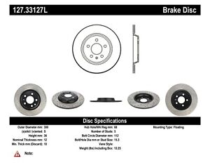 StopTech For 08-18 Audi A5 /A4 /Q5 /A7 /A6 Rear Left Disc Brake Rotor 127.33127L