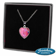Heart Necklace Pink Paua Abalone Shell Pendant Silver Jewellery Gift Boxed