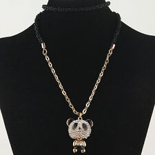"30"" Betsey Johnson 14k Gold Filled Panda Austrian Crystal Necklace w/tags"