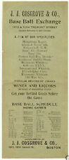 1896 Base Ball Schedule Boston Beaneaters National League Liquor Store Ad