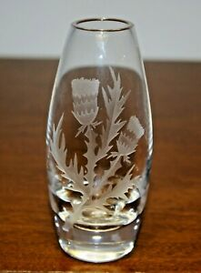 "Stuart Crystal - 5"" bud vase etched with Scottish Thistle design"