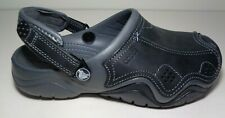 Crocs Size 9 SWIFTWATER LEATHER CLOG Graphite Clogs Loafers New Womens Shoes
