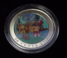 2015 Canada 50 cents  Holiday Lenticular Holiday Toy Box 3D Coloured Coin