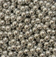 Silver (Metallic) 8mm Edible Sugar Pearl Balls/Dragees - 50g