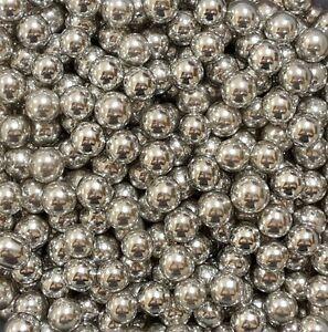 Silver (Metallic) 8mm Edible Sugar Pearls/ Dragée Balls - 50g