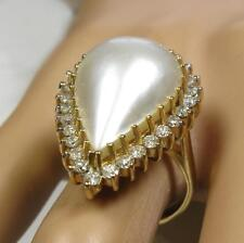 Tear Drop Mabe Pearl 22.5x15mm 0.85CT Diamond 14K Yellow Gold Cocktail Ring