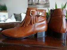 NAPOLEONI Italy Leather Fringe Ankle Boot 36