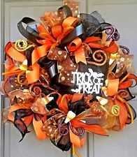 Halloween Fall Autumn Lit Deco Mesh Trick or Treat Wreath Lighted LED Door Decor