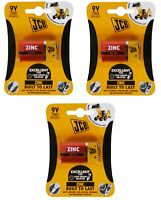 JCB 9V Batteries Zinc Square 9 VOLT Battery 3 pack