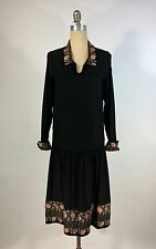 Near MINT Vintage 1920's black silk drop waist dress w/embroidered velvet detail