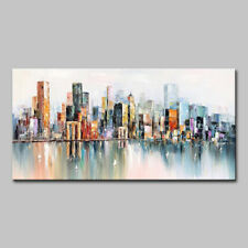 Mintura Hand Oil Paintings on Canva The Abstract City Home Decor Modern Wall Art