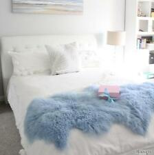 BLUE  MONGOLIAN SHEEPSKIN LAMBSKIN HIDE PELT FUR BED RUNNER SCARF DUO DOUBLE
