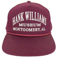 Vtg Hank Williams Museum Hat Montgomery Cap Logo Rope Snapback Trucker Baseball