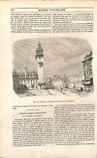 La Tour horloge dite « Jacquemart » à Moulins Allier /Châtaignier  GRAVURE 1851