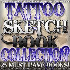 """TATTOO FLASH """"TATTOO SKETCHBOOK COLLECTION"""" ON CD/DVD 25 MUST HAVE EBOOKS"""