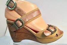 Miz Mooz Sammy Tan & Beige Platform Wedge Leather Fabric Sandal Women's 6 Shoes