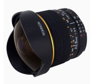 Rokinon 8mm Ultra Wide F/3.5 Fish Eye Lense Auto Aperture Nixon AE8M-N