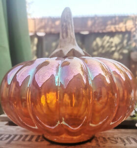 Großer Glas Dekogemüse Deko Orange 19cm Kürbis Herbstdeko Herbst Halloween Deko